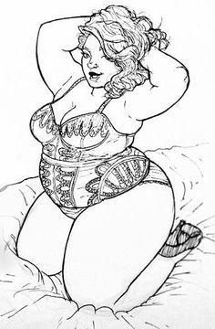 Woman Sketch, Woman Drawing, Sexy Drawings, Art Drawings Sketches, Art Beauté, Positive Art, Body Positive, Plus Size Art, Fat Art