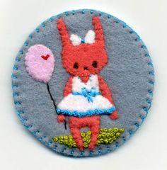 Felt Bunny Girl Brooch