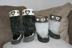 Inuit made children's sealskin kamiks by   Miqqusaaq Bernadette Dean
