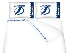 Be a Tampa Bay Lightning super fan as your explore our variety of logo merchandise at huge discounts. Team sports gifts for the ultimate NHL experience! Tampa Bay Hockey, Tampa Bay Lighting, Queen Bed Sheets, Sports Bedding, Best Insulation, Twin Sheet Sets, Quilt Sets, Fiber