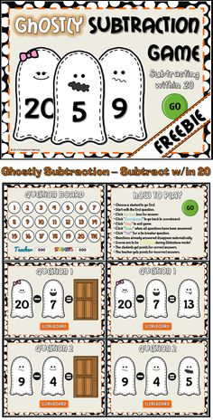****Freebie***** Celebrate Halloween with this ghostly Halloween Games. Students practice subtracting within 20. Animations include a revovling door that reveals the answer and funny ghost faces. There are 20 questions and you just click on each question to go to it. The question disappears after you've clicked on it so you know you've answered it. There is a type-in scoreboard.  The scoreboard can be typed in during Slideshow Mode.