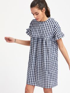 Shop Checkered Ruffle Sleeve Keyhole Tie Back Smock Dress online. SheIn offers Checkered Ruffle Sleeve Keyhole Tie Back Smock Dress & more to fit your fashionable needs. Smock Dress, Dress Skirt, Simple Dresses, Short Dresses, Cotton Dresses, Pink Dresses, Mom Outfits, Western Outfits, Babydoll Dress