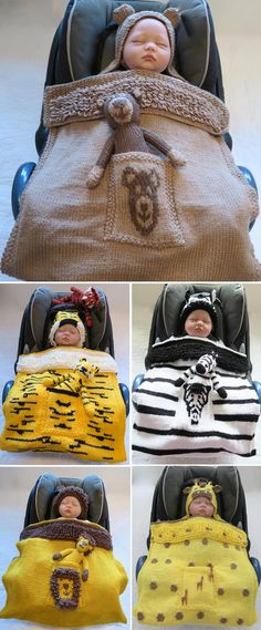 Knitting Pattern for Animal Car Seat Blankets - A variety of baby blankets either hooded or with hats. Some include toy animal patterns. Pictured are bear, tiger, lion, zebra, and giraffe. Designed by Creative Knits.