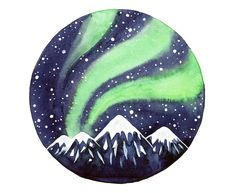 Original Watercolor painting Northern lights art by bluepalette