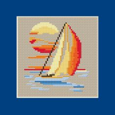 Simple but beautiful seascape showing a boat and sunset. Cross Stitch Horse, Small Cross Stitch, Butterfly Cross Stitch, Cross Stitch Needles, Cute Cross Stitch, Cross Stitch Cards, Beaded Cross Stitch, Cross Stitch Flowers, Cross Stitching