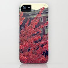 Library in Red iPhone & iPod Case by Melissa Lund