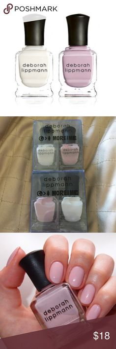 Deborah Lippmann Nail Laquer Bundle 4 bottles o Deborah Lippmann Nail polish. .27oz  (2) Like A Virgin  (2) Shape Of My Heart  Infused with Biotin, Green Tea and Aucoumea Long-wearing, highly pigmented nail lacquer that contains no formaldehyde, formaldehyde resin, toluene, camphor, or dibutyl phthalate, and are not tested on animals.  QUICK-DRYING LONG-WEARING HIGHLY PIGMENTED  Deborah Lippmann's luxury line of award-winning hand and foot care was created as a result of her working with…