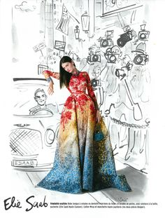 ELIE SAAB Haute Couture Fall Winter 2014-15 shot by Pascal Chevallier, styled by Charla Carter & illustrated by IZAK for the November weekly issue of Gala France.