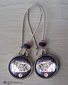 Cabochon Earrings Camera Earrings Dangle Jewelry Camera Jewellery by Pinturicon on Etsy