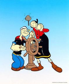 Popeye Captain's Wheel - Limited Edition Sericel by King Features Syndicate with a Full Color Background