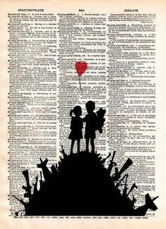 Banksy Children on guns art, revolution street art , vintage dictionary page book art