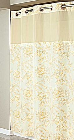 Hookless Yellow Floral Print Mystery  Shower Curtain