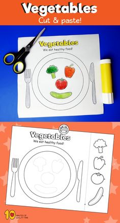 Vegetable Plate Cut & Paste - 8 regular nutrition recommendations for w. Preschool Garden, Preschool Crafts, Healthy Food Activities For Preschool, Science Projects For Preschoolers, Vegetable Crafts, Nutrition Activities, Manners Activities, Nutrition Education, Bulletins