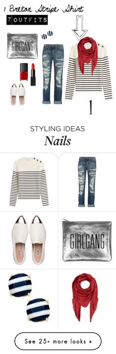"""1 Breton Stripe Shirt 7 Outfits no. 1: Jeans"" by irene-ireen on Polyvore featuring Philosophy di Lorenzo Serafini, Current/Elliott, Miu Miu, NARS Cosmetics, Kate Spade, Marc Jacobs and stripedshirt"