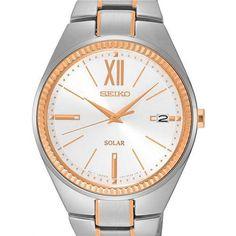 Seiko Women's SNE878 Two Tone Solar Powered Watch with Date Window