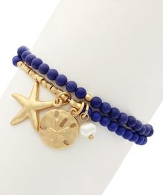 Take a look at this Blue & Gold Aleyda Stretch Bracelet on zulily today!
