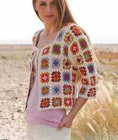 CROCHET PATTERN Ladies 3/4 Sleeve Granny Square Jacket S-XXXL Magazine Extract