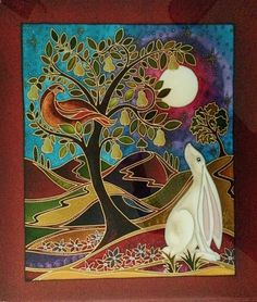 pictures of hare and moon - Bing images Stained Glass Patterns Free, Year Of The Rabbit, Rabbit Art, Tree Illustration, Moon Art, Beautiful Drawings, Silk Painting, Animal Paintings, Pet Birds