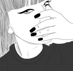 Image de drawing, outline, and black Tumblr Girl Drawing, Tumblr Art, Cute Girl Drawing, Tumblr Girls, Tumblr Outline, Outline Art, Outline Drawings, Sad Drawings, Realistic Drawings