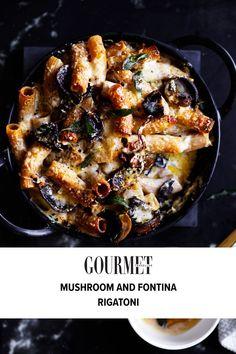 Rigatoni Recipes, Baked Pasta Recipes, Vegetarian Comfort Food, Vegetarian Recipes, Cooking Recipes, Roasted Mushrooms, Stuffed Mushrooms, Dried Mushrooms, Parmesan Pasta