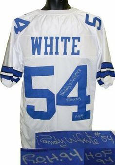 Randy White Autographed/Hand Signed Dallas Cowboys White Prostyle Jersey HOF 94 & ROH 94 by Hall of Fame Memorabilia. $236.95. Randy White was drafted by the Dallas Cowboys in 1975. In 1977 he was named to his first All-Pro team his first Pro Bowl and was named co-MVP of Super Bowl XII with teammate Harvey Martin making him one of only seven defensive players to win that honor. He would continue that success being named to nine consecutive All-Pro and Pro Bowl teams. D...