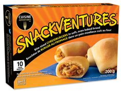 Frozen snacks and meals for every day and any occasion! Www.cuisineadventures foods.com  Mini cheeseburger bites that go from freezer to microwave to face in under 5 minutes