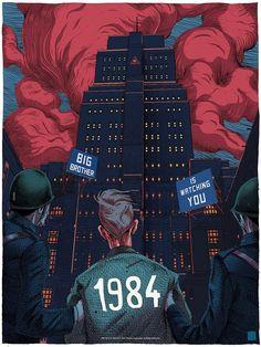Olivier Bonhomme 1984 Art Print George Orwell Bottleneck Gallery Mondo Rare in Art, Art Prints Nineteen Eighty Four, George Orwell, Art Et Illustration, Alternative Movie Posters, Poster S, Dope Art, Illustrations And Posters, Film Posters, Aesthetic Art