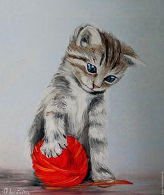 Купить Картина Котенок с клубком - картина в подарок, картина для интерьера, яркая картина, картина в гостиную Animal Sketches, Art Drawings Sketches, Animal Drawings, Kittens Cutest, Cats And Kittens, Cute Cats, Loro Animal, Watercolor Portraits, Watercolor Paintings