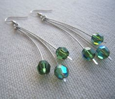 Time Tested Green Crystals and Wire Dangle Earrings Pierced Handcrafted #MDHcrafts #DropDangle