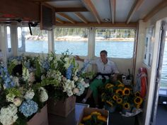 Heading over to Isle au Haut with wedding flowers