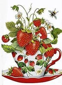 Fresh Strawberries Teacup Cotton Flour Sack Dish Tea Towel - Mary Lake Thompson x Fresco, Thompson, Strawberry Tea, Paper Vase, Mary Engelbreit, Fall Pumpkins, Tea Towels, 30, Decorative Bowls