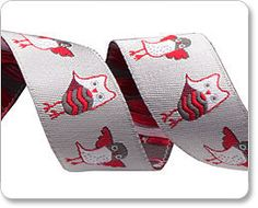 Red and Grey Owls Ribbon - Sue Spargo