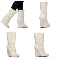 Cream wedge boots Super comfy wedge boots. Have not been used only tried on.mixed texture front is smooth and back portion is suede like material Leila Stone Shoes Wedges