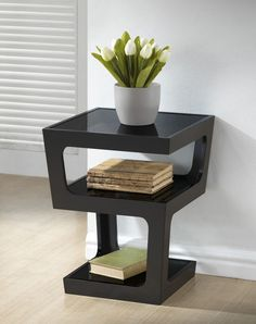 WholeSale Interiors Baxton Studio Clara Black Modern End Table with 3-Tiered Glass Shelves