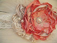 Coral/Peach Flower Headband