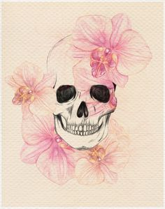 skull with orchids roxy - I would never get a scull tatoo, but Iove the idea of a black image surround by the soft translucent orchids. If a colored tattoo could be a soft as that, I wouldn't be so against getting a colored tattoo