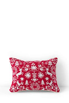 Red & White Scandinavian Inspired Needlepoint Decorative Christmas Pillow | Lands' End