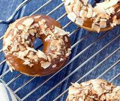 Chocolate-iced donuts - coconut palm sugar sweetened, brown rice flour, skip the coconut flakes |