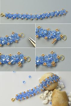 blue glass beads bracelet, you can see the making tutorial from LC.Pandahall.com