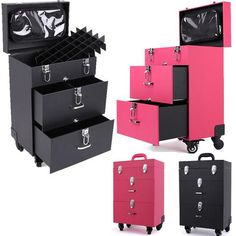 Perfect Portable Travel Makeup Trolley for the Professional or Wanna Be! High Quality Leather w/Metal Key Locks 4 Wheels w/Lock Ladies Makeup Travel Case Pink or Black - Loluxe - 1