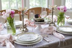Mixing Old + New in a Spring Tablescape | Designthusiasm.com - love the pink champagne flutes!