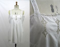1920s Step In   Cotton Lace Chemise   Vintage All-In-One   Vintage Teddy    Cotton Combinations   Camiknickers   Size M L f61065af0