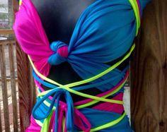 Colorful unique versatile gogo rave wrap top and wrap by Keetenz