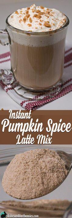Homemade DIY Instant Pumpkin Spice Latte Mix from dishesanddustbunn. Coffee Recipes, Pumpkin Recipes, Fall Recipes, Pumpkin Deserts, Tea Recipes, Drink Recipes, Holiday Recipes, Yummy Drinks, Yummy Food