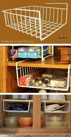 Hanging shelf dividers! Perfect for utilizing empty space in the cabinets.