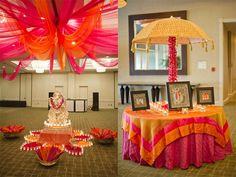 garba decoration, color schemes, orang bouquet, umbrella, oranges