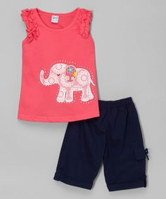 Inspiration: Coral Elephant Top & Navy Bermuda Shorts - Toddler & Girls by G&J Relations #zulily #zulilyfinds