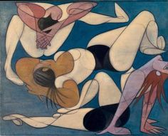 Acrobats, 1947 by Jose de Almada-Negreiros. Art And Illustration, Henri De Toulouse Lautrec, Gustav Klimt, Modern Art, Contemporary Art, Figurative Kunst, Art Through The Ages, Guache, Art Database
