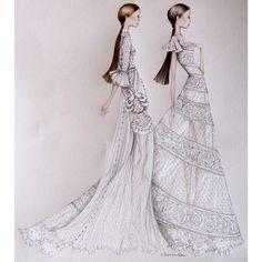 The magic that was The New York @maisonvalentino Haute Couture White Collection #ValentinoNYC #sublime #inlove #alexandranea #fashionillustration