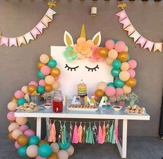 First Birthday Party Decor Ideas Unicorn Themed Birthday Party, Rainbow Unicorn Party, First Birthday Parties, Birthday Party Themes, First Birthdays, Birthday Ideas, Girl Birthday Decorations, Unicorn Baby Shower, Party Time